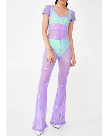 Daisy Lilac Mesh Jumpsuit
