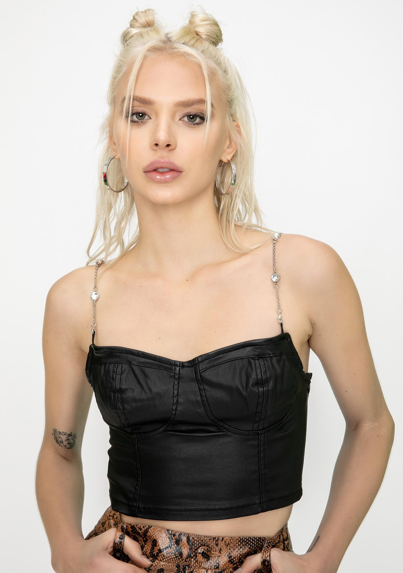 Momokrom Embellished Crop Bustier Top