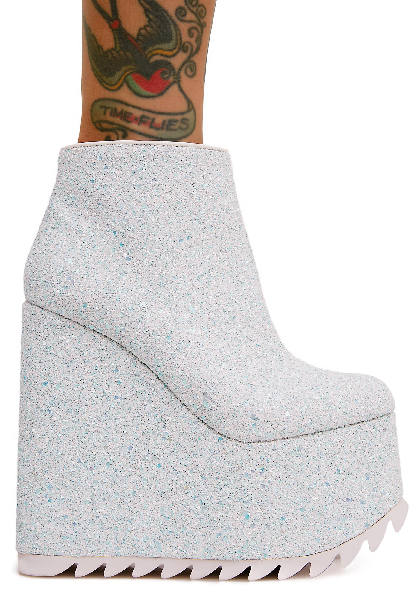 Y.R.U. Glitter Dimension Platform Wedges