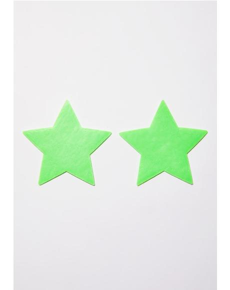 Neon Green Glow-In-The-Dark Star Pasties