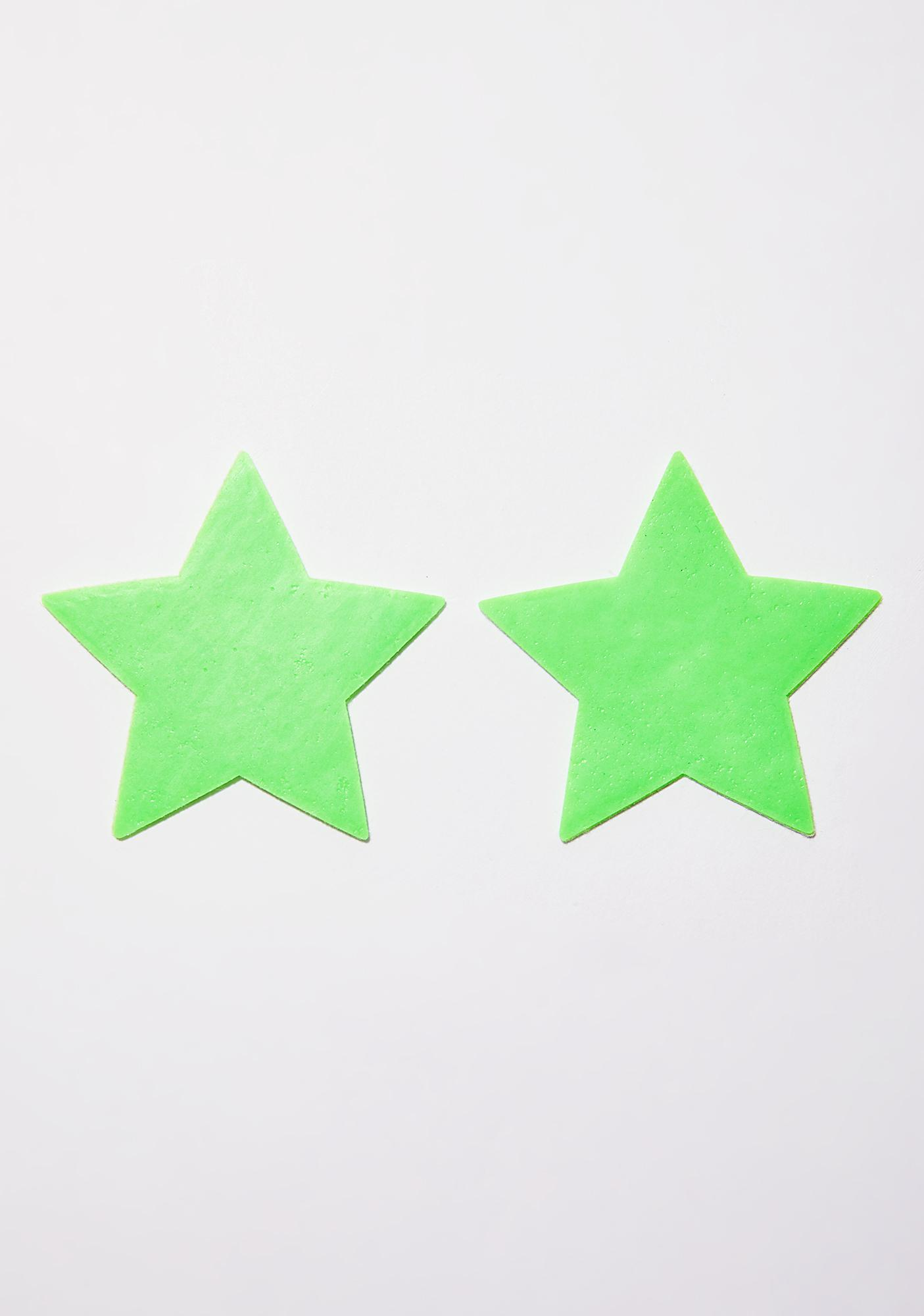 Pastease Neon Green Glow-In-The-Dark Star Pasties