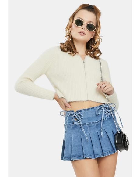 Cream Crop Hoodie Cardigan