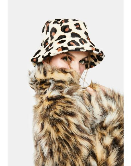 Crush On Me Fuzzy Leopard Print Bucket Hat