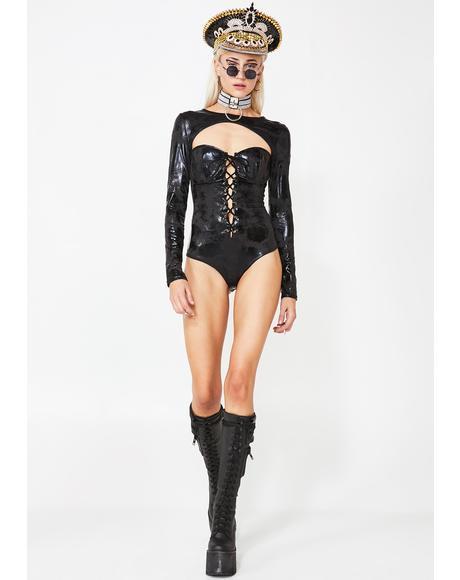 Ninja Mistress Lace-Up Bodysuit
