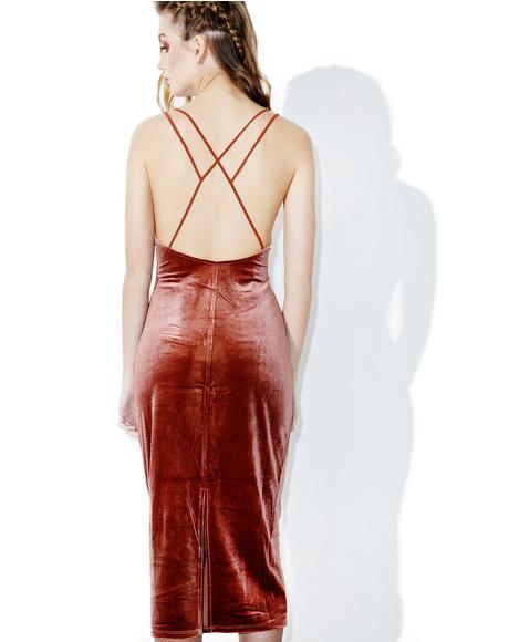 Sandalwood Velvet Slip Dress