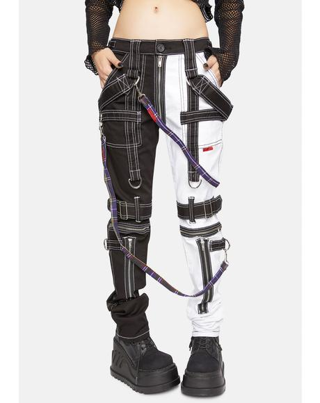 Purple Plaid Bondage Pant Straps