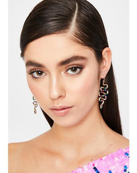 Gold Slide Thru Snake Earrings