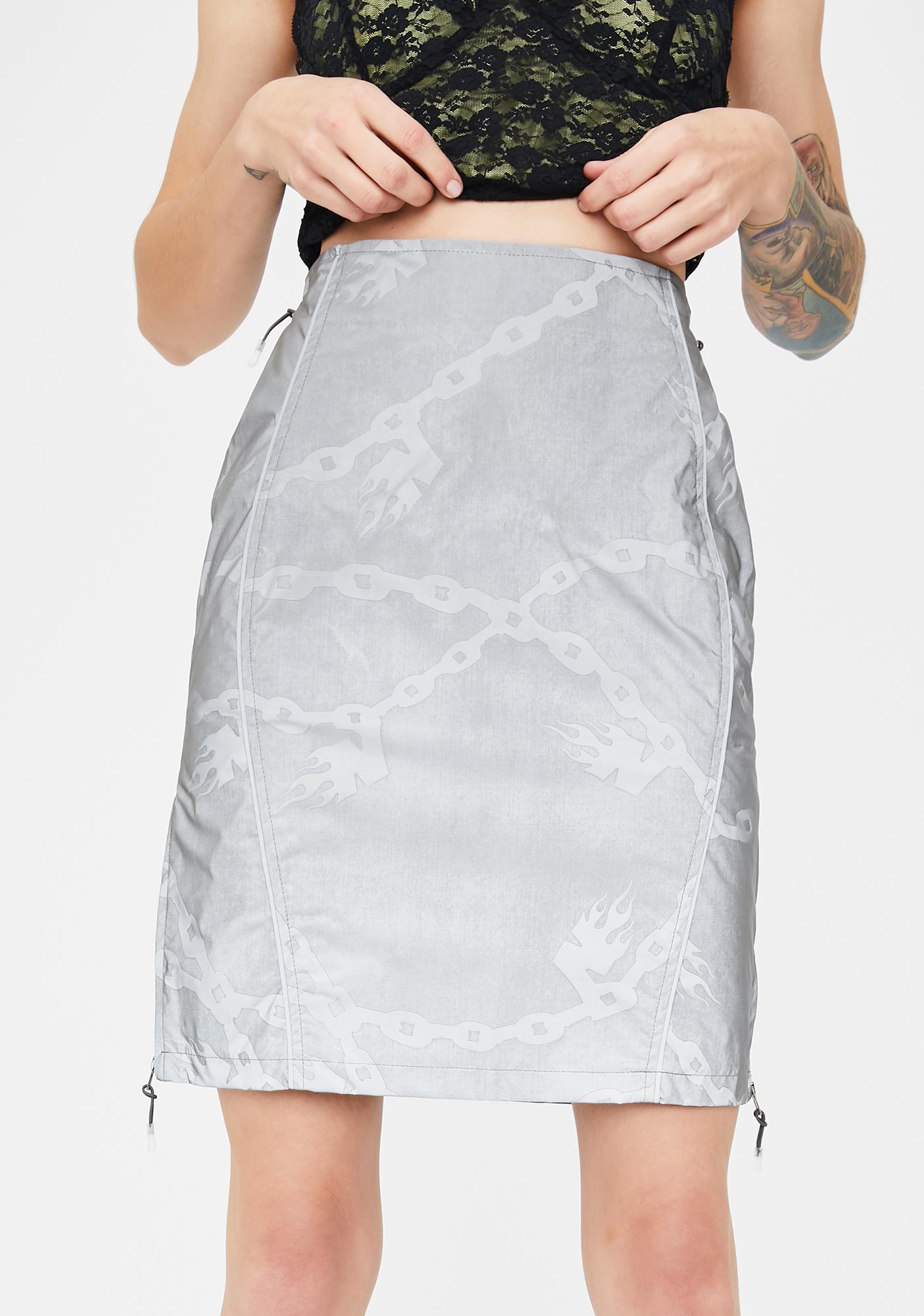 No Dress Reflective Chain Print Skirt