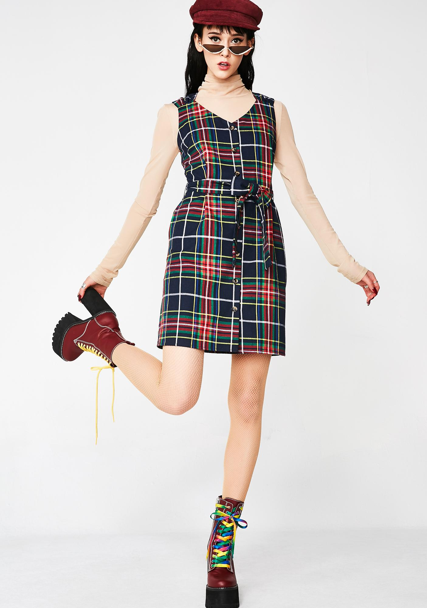 Moonshine Always Tardy Plaid Dress