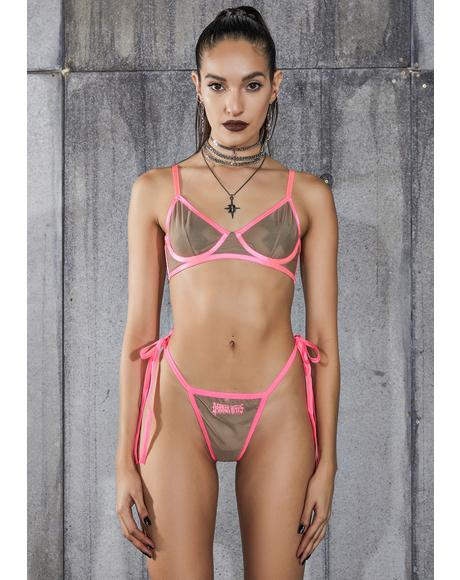 Snare Nude Mesh Bra And Logo Charm Thong Set