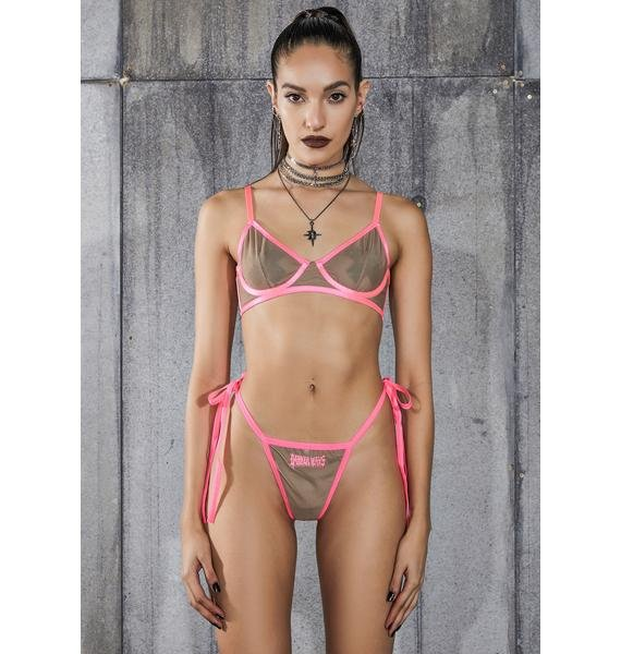 DARKER WAVS Snare Nude Mesh Bra And Logo Charm Thong Set