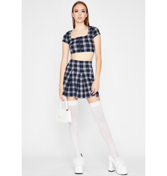 Navy Late For Class Plaid Set