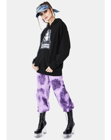 Purple Tie Dye Nylon Cargo Pants
