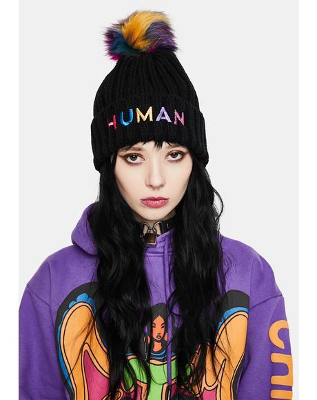 Human Pom Pom Beanie