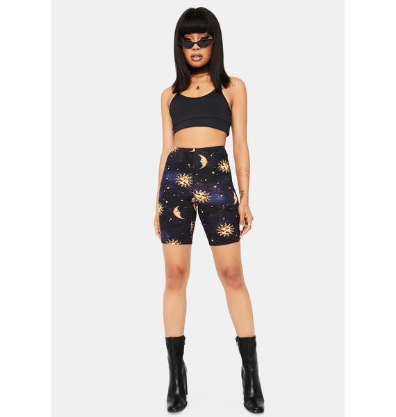 Made Of Stardust Celestial Print Biker Shorts