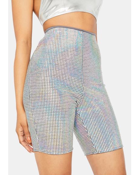 Cosmic Diva Holographic Biker Shorts