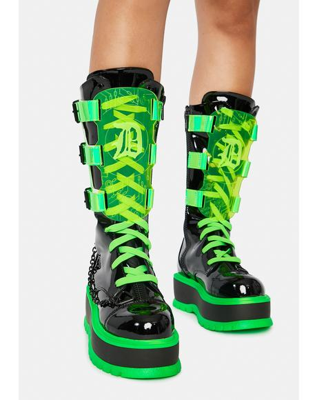 Slime Monster UV Reactive Boots