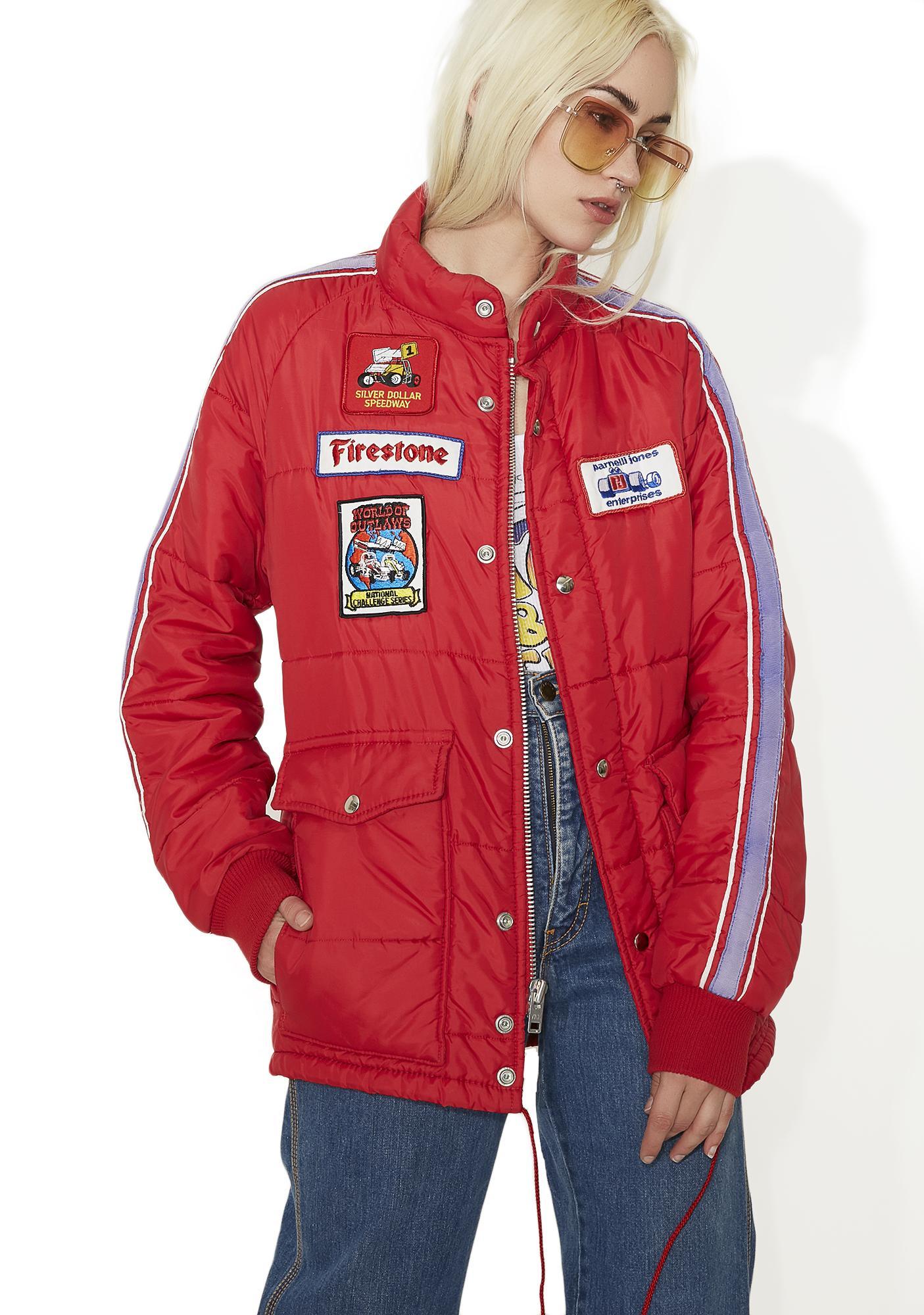 Vintage Motor Patchwork Puff Jacket