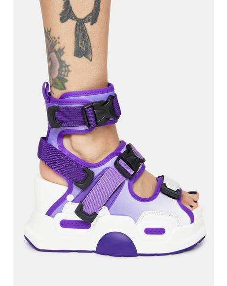 Purple Mulberry Platform Sandals