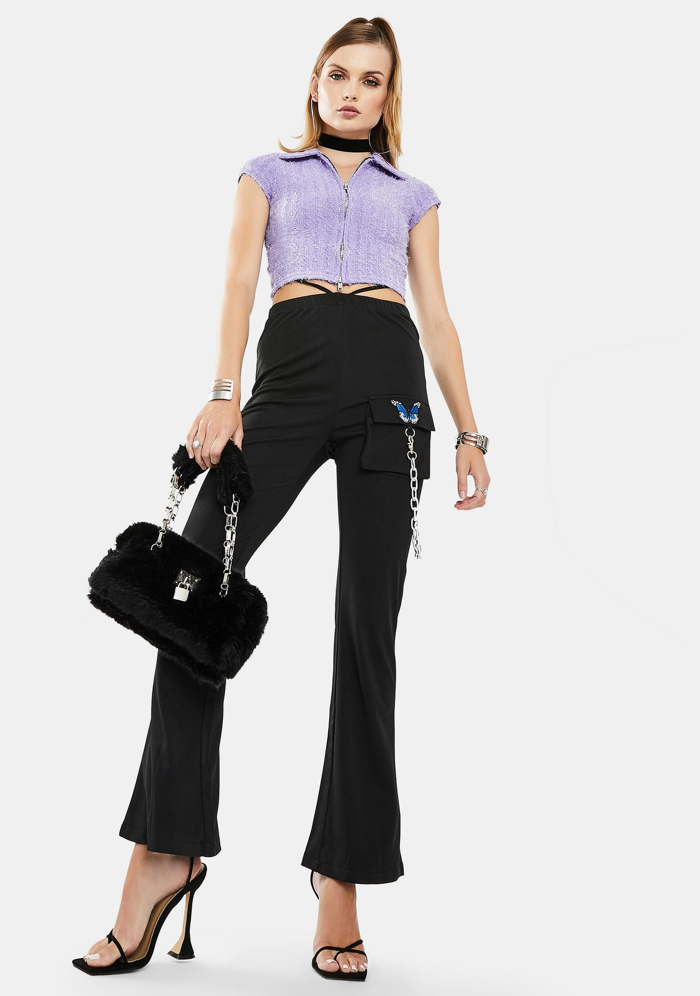 ZEMETA Butterfly Chain High Waist Pants