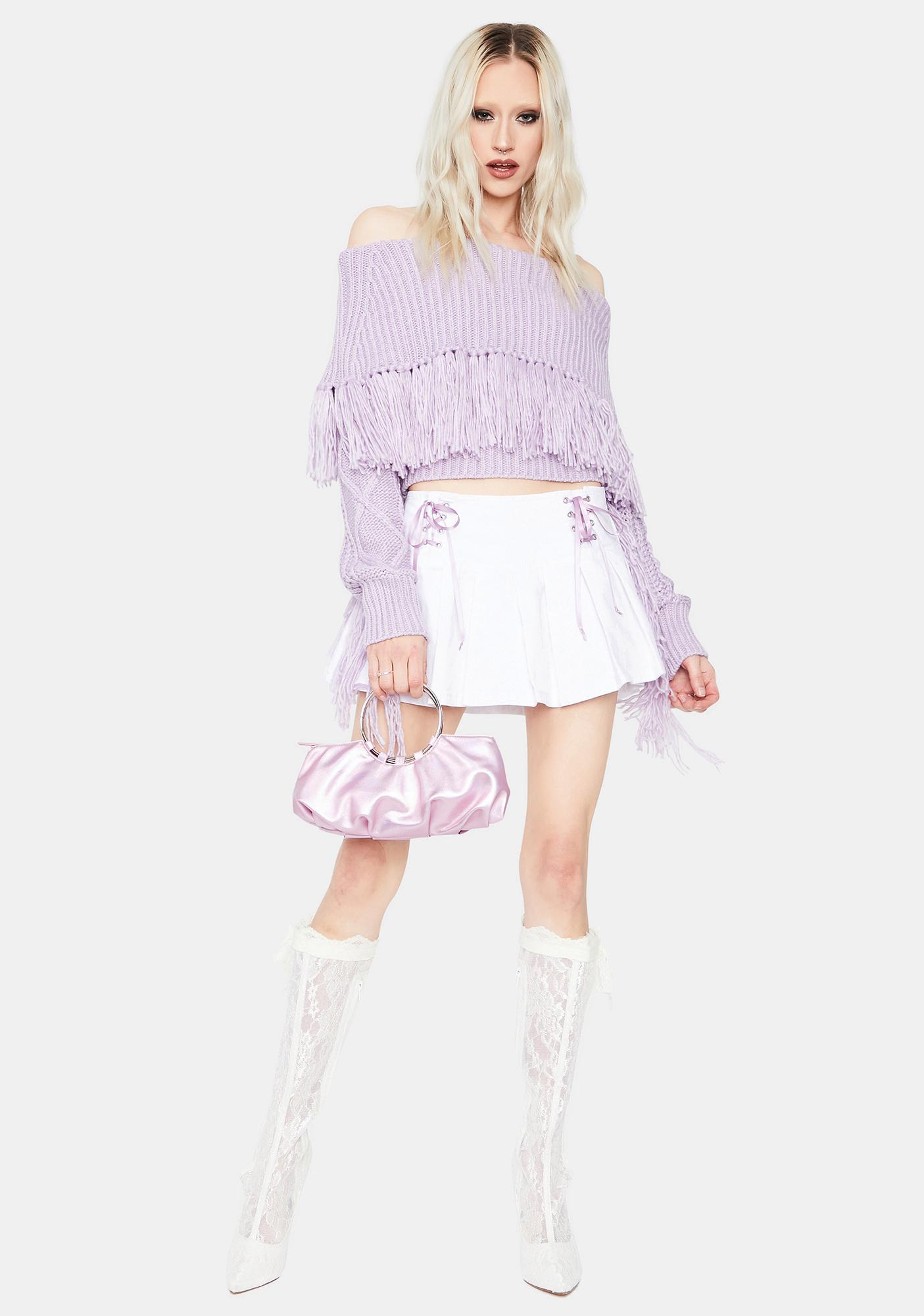 Lilac Harvard Bound Off The Shoulder Sweater