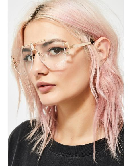 Golden Techie Temptress Clear Glasses