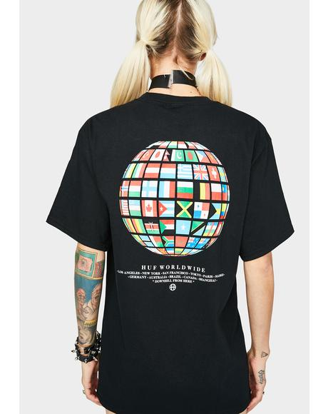 Black Global Wave Graphic Tee