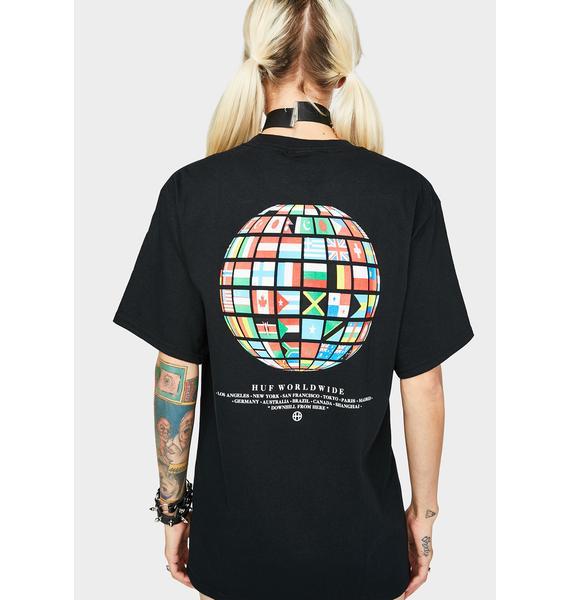 HUF Black Global Wave Graphic Tee