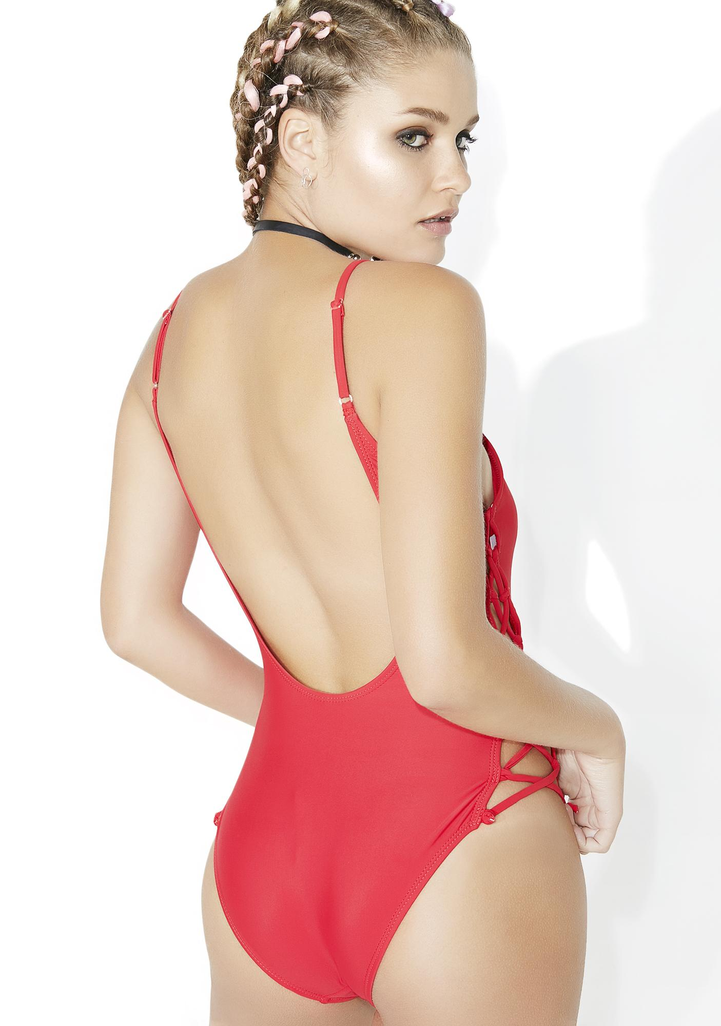 Sidetracked Lace-Up One Piece