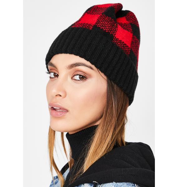 Love Ain't Bothered Plaid Beanie