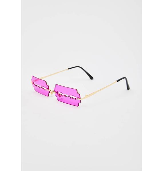 Magenta Lethal Razor Blade Sunglasses