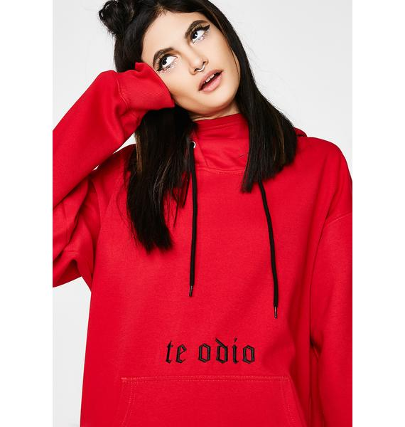 Current Mood No Love Embroidered Hoodie