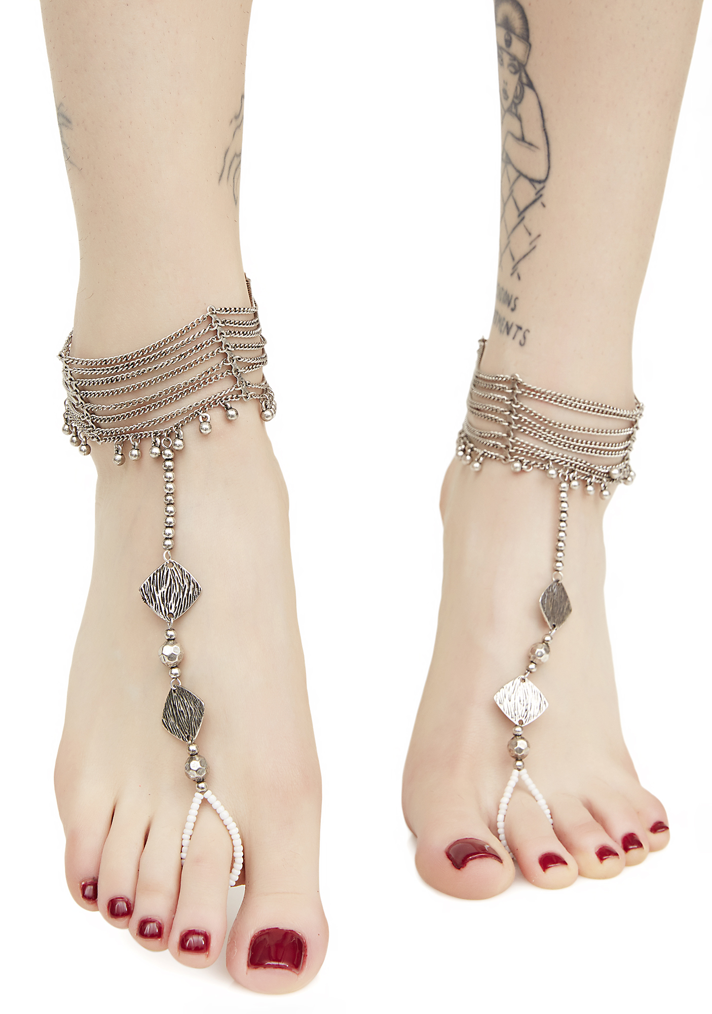 Silver Metal Ankle Chains