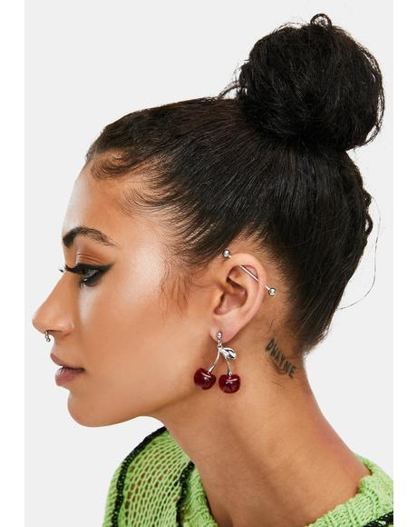 Nice Stems Cherry Stud Earrings