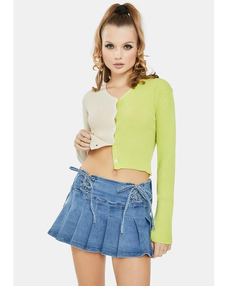 Lime 90's Split Color Cropped Cardigan