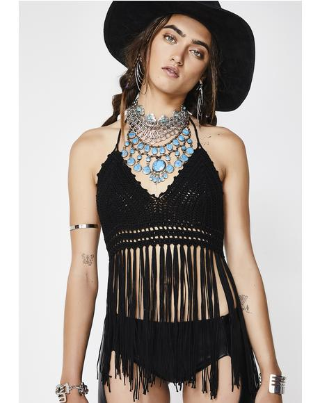 Black Magic Fringe Halter Top