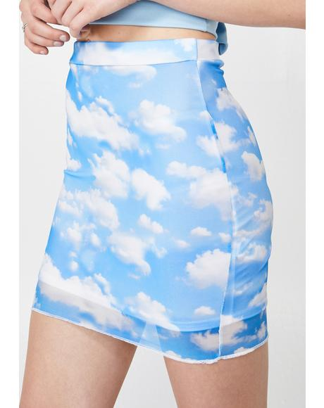Cloud Print Mesh Mini Skirt