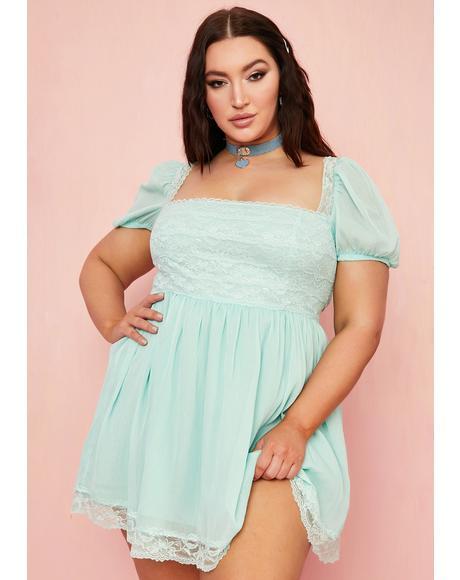 Juicy Honeydew Pucker Babydoll Dress