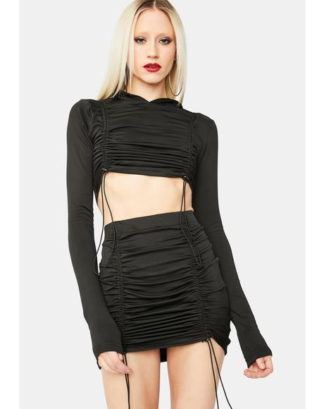 Take Me Out Ruched Skirt Set