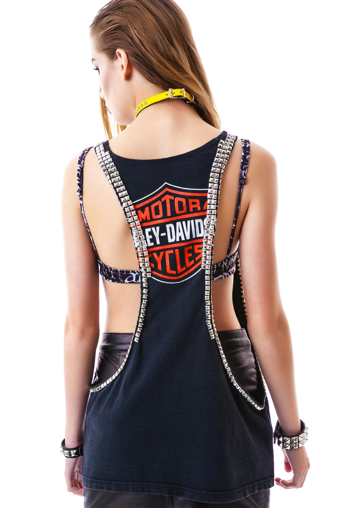 Hazmat Design Ride On Open Side Studded Biker Tank