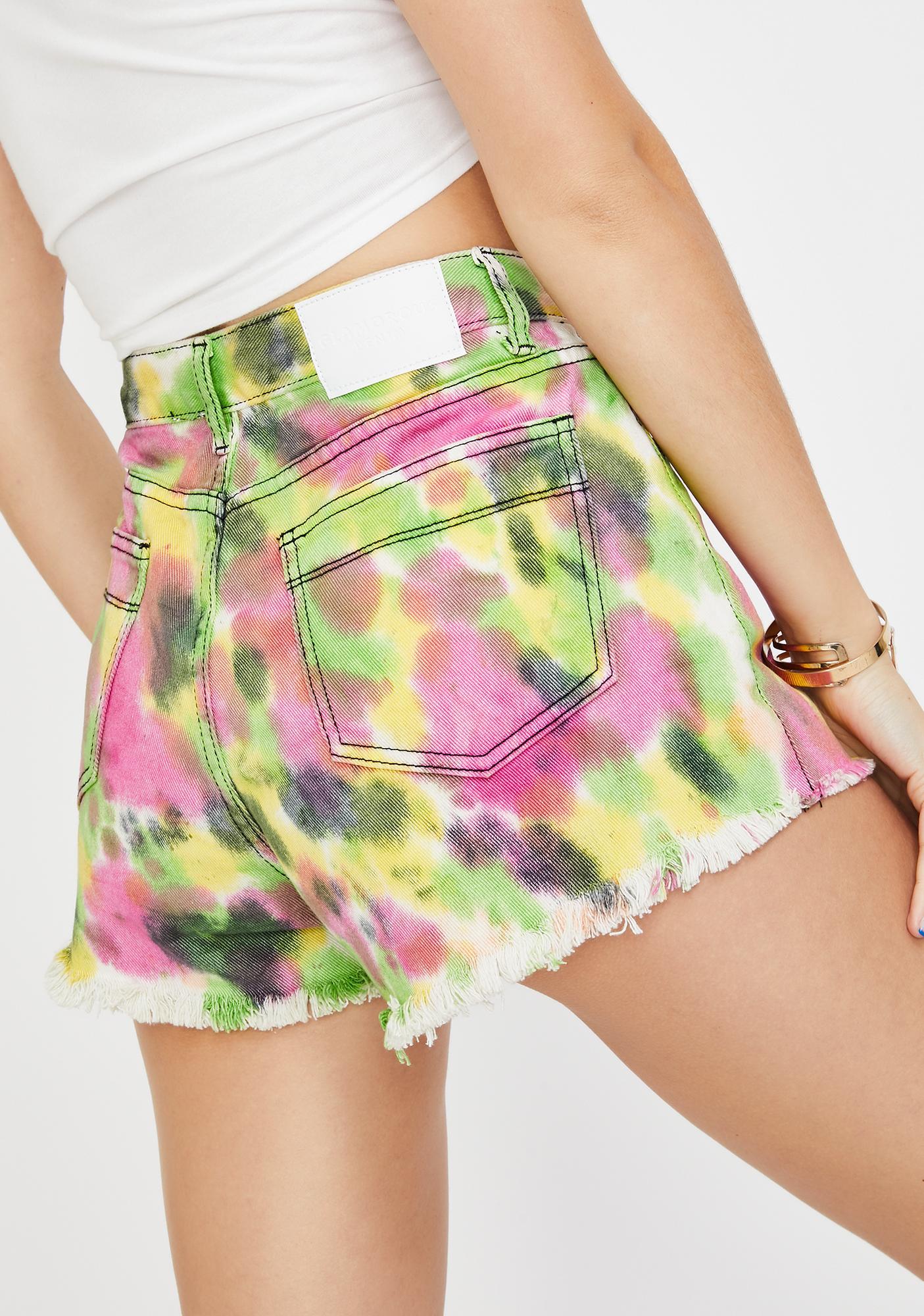 Glamorous Tie Dye Denim Shorts
