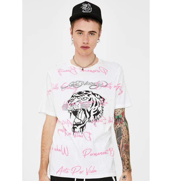 Ed Hardy Tiger Scribble Graphic Tee