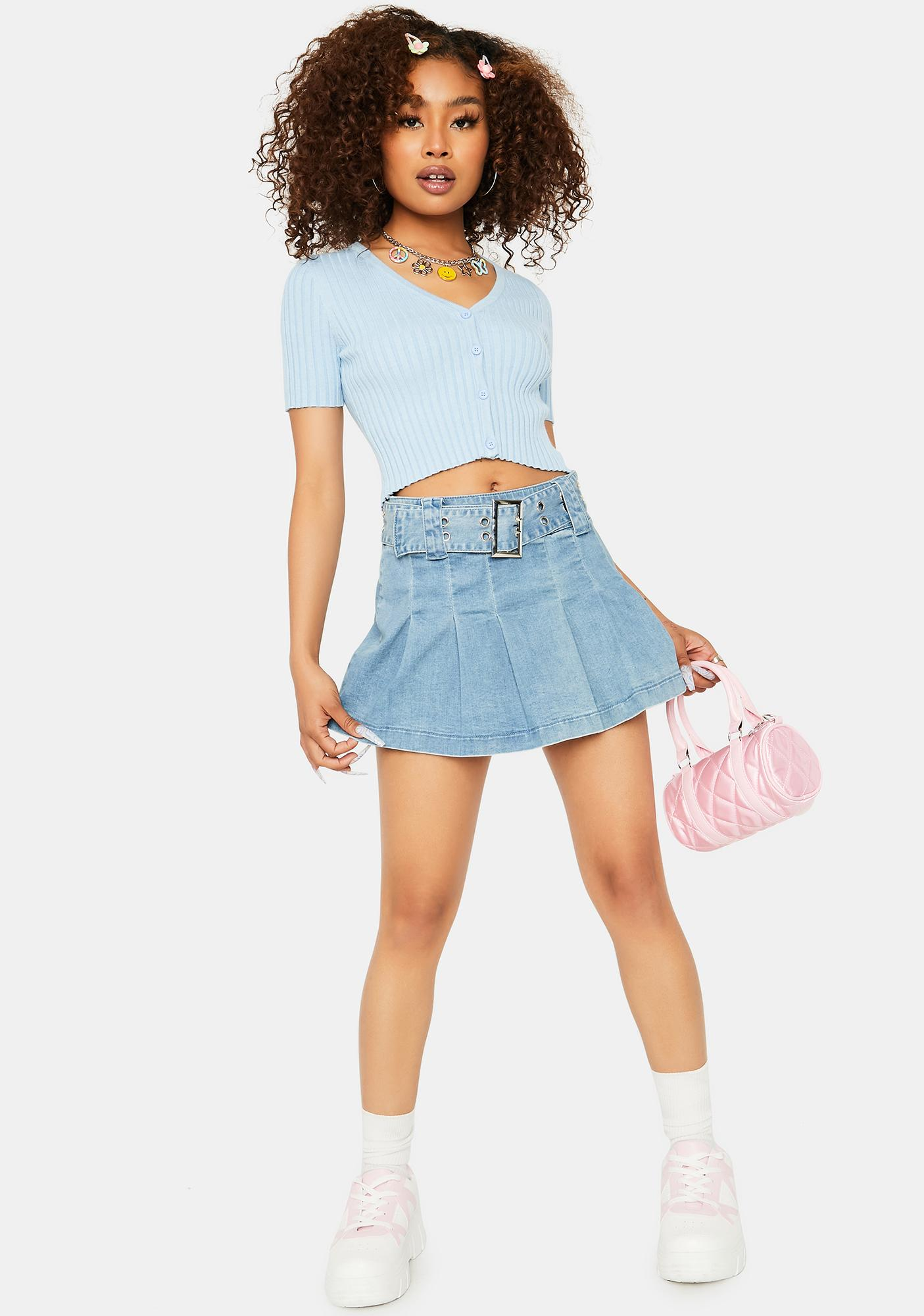 Powder That Could Be Me Cropped Cardigan