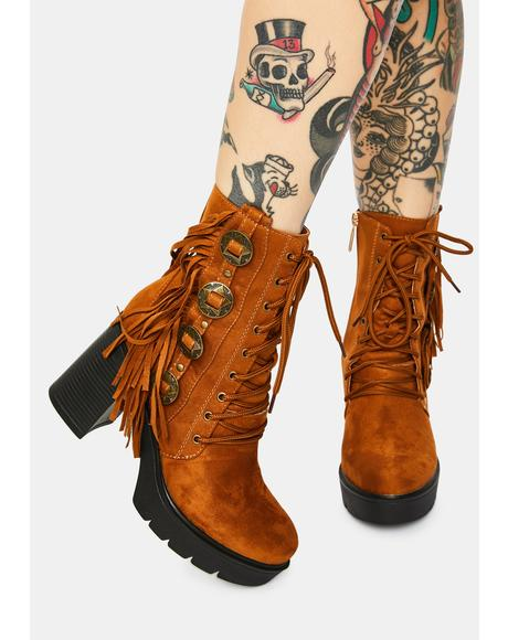Mocha Got Me Going Fringe Boots