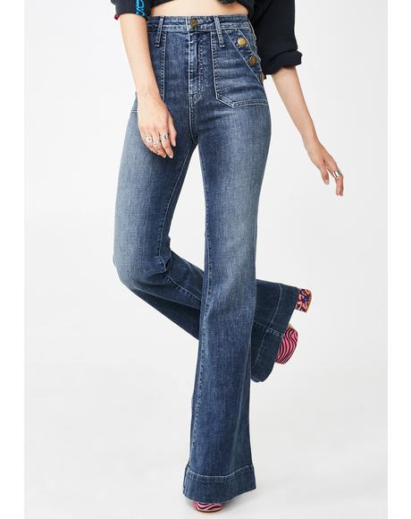 Farrah Button Flared Jeans