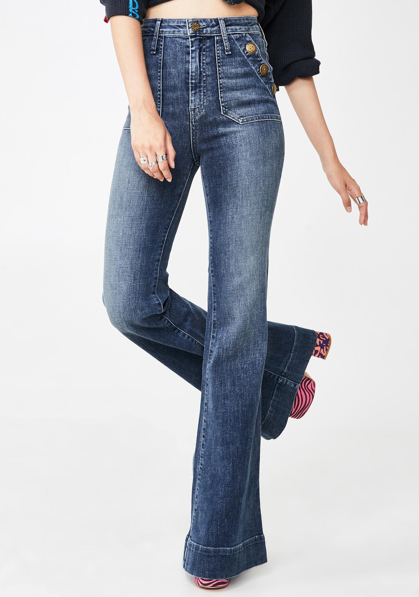 Show Me Your Mumu Farrah Button Flared Jeans