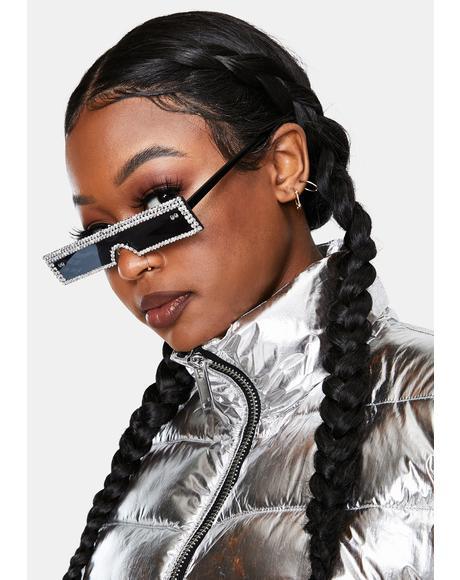 Into The Future Slim Rhinestone Sunglasses