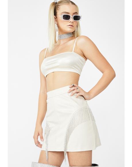Cassie Rhinestone Fringe Skirt