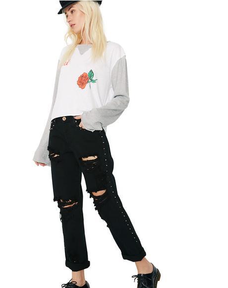 Side Stud Boyfriend Jeans
