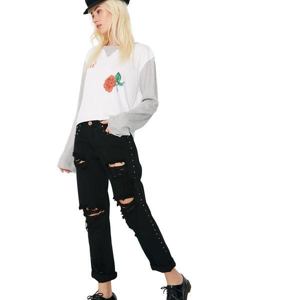 Glamorous Side Stud Boyfriend Jeans
